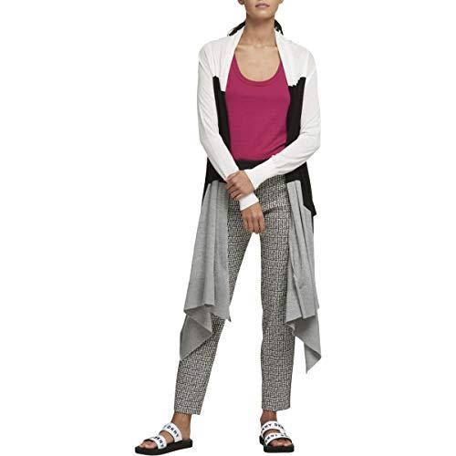 (DKNY Womens Draped Colorblock Cardigan Sweater Black-Ivory M/L)