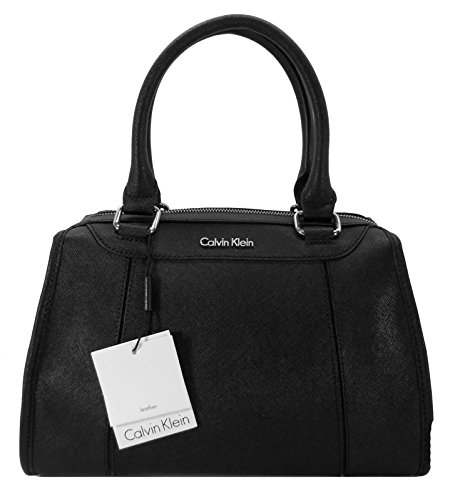 Calvin Klein Handbag, Leather Bowler Tote … (Black/Black) by Calvin Klein