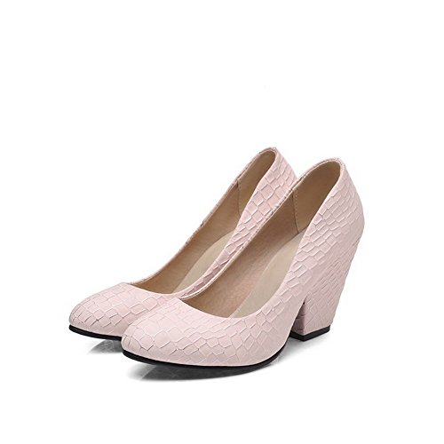 VogueZone009 Women's Blend Materials Round Closed Toe Spikes-Stilettos Solid Pumps-Shoes Pink kMTD3XJ6ta