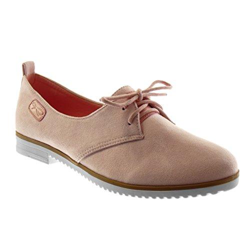 Angkorly Damen Schuhe Mokassin - Slip-On - Sneaker Sohle - Knoten Blockabsatz 2 cm Rosa