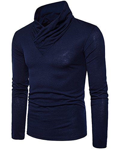 Men's Casual Long Sleeve Pullover Cotton T-Shirt, Fashion Solid Wrap Neck Tee Navy Large (Shirt Western 90s)