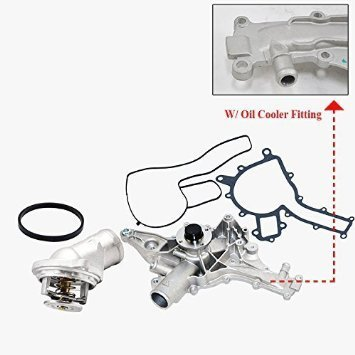 Mercedes-Benz Water Pump (W/ Oil Cooler) + Thermostat Premium Quality 1122001401 C43 AMG C55 AMG CL55 AMG CLK320 CLK55 AMG E320 E55 AMG G55 AMG ML320 ML350 ML430 ML500 ML55 AMG R500 S55 AMG SLK320 (Amg Cl55)
