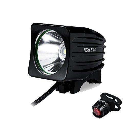 Night Eyes- 1200 Lumens Mountain Bike Headlight Bike LED Light -Rechargeable 8.4V 6400mA ABS Waterproof Battey-Free Aluminum BikeTaillight Bonus -NO Tool Required (Square 1200)