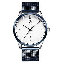 腕時計 メンズ シンプル ビジネス ファッション 日付表示 ブルー ホ...