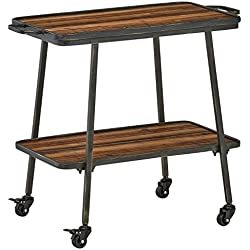 "Rivet 2-Tiered Industrial Rolling Bar Cart, 32.3""W, Natural, Black"