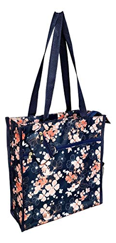 12 in by 13 in Tote Bag w/Mesh Water Bottle Pocket - Personalized Custom Monogram or Name Embroidery Available (Navy - Peach Primrose)