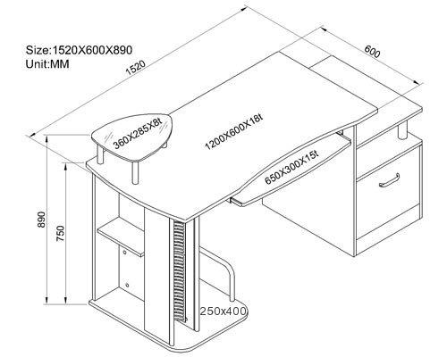 Sixbros mesa de ordenador s 202a 736 estructura mdf for Medidas estandar de escritorios de oficina