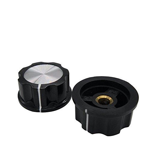 Knob Aluminium (Taiss/10pcs Silver Tone Top Rotary Knobs for 6 mm Dia. Shaft, Potentiometer Switch Knob Top Diameter: 30mm Black A04-6mm)