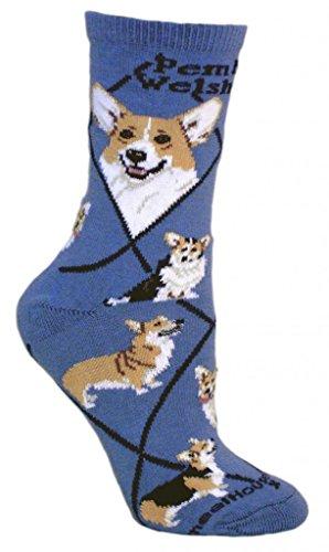 Pembroke Welsh Corgi Dog Blue Cotton Ladies Socks