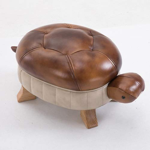 (SYKONG Animal Ottoman Foot Rest Stool Solid Wood Footstool Creative Turtle Stool Leather Sofa Stool Foot Stool Test Shoes Stool Wealthy Lucky Door Change Shoe Bench (Color : Brown))