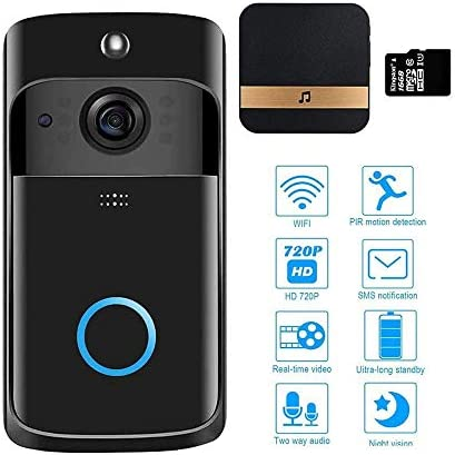 ビデオドアベルワイヤレスWifi防水、HD 720Pワイヤレスドアベルカメラ、動き検出機能付きドアベルカメラ、双方向通話、赤外線ナイトビジョン、ブラックドアベル,白