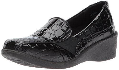 Easy Street Women's Dolores Flat Black Patent Crocodile