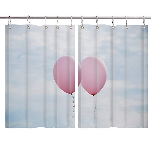 JAWO Romantic Balloon Window Curtains, Pink Balloons in Blue Sky Valentine's Day Kitchen Decorations Window Drapes, Window Treatment Sets Curtains 2 Panels with Hooks, 55X39Inches (Day Balloons Same Send)