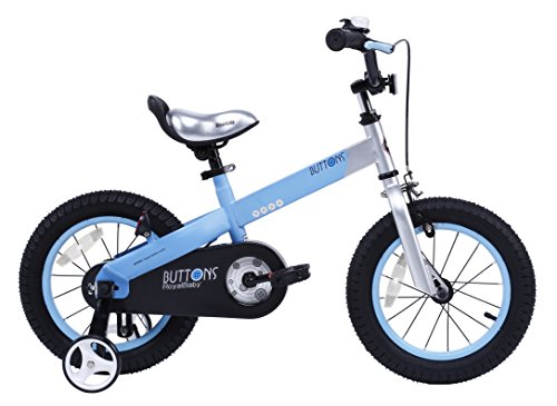 Unisex Bike (RoyalBaby CubeTube Kid's bikes, unisex children's bikes with training wheels, various trendy features, gifts for fashionable boys & girls, Matte Blue Buttons, 12 inch)