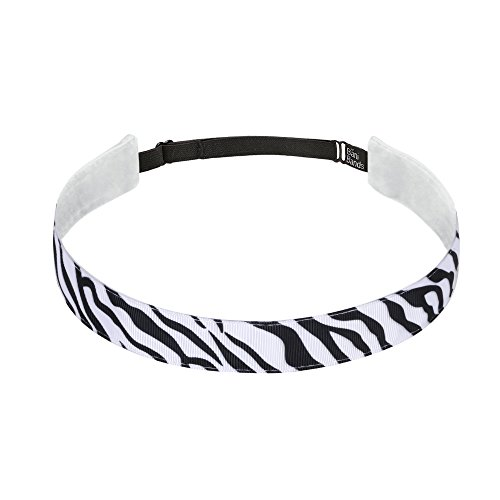 BaniBands Headbands for Women - Non Slip Adjustable Sports Head Bands - Made in USA - Perfect Headband for Active Women Stays in Place During Workout, Running, Yoga and More - Zebra -