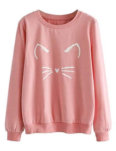 ROMWE Women's Cat Print Lightweight Sweatshirt Long Sleeve Casual Pullover Shirt