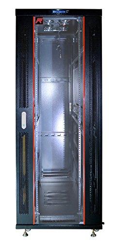 42U Floor Standing Server Rack Cabinet Glass Door (Temperature Control Panel, 4 Fans, 4 Castors, 3 Brash Cable -