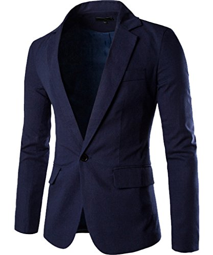 Cottory Men's Fashion Slim Fit Notched Lapel Center-Vent Back One-Button Blazer Dark Blue X-Small