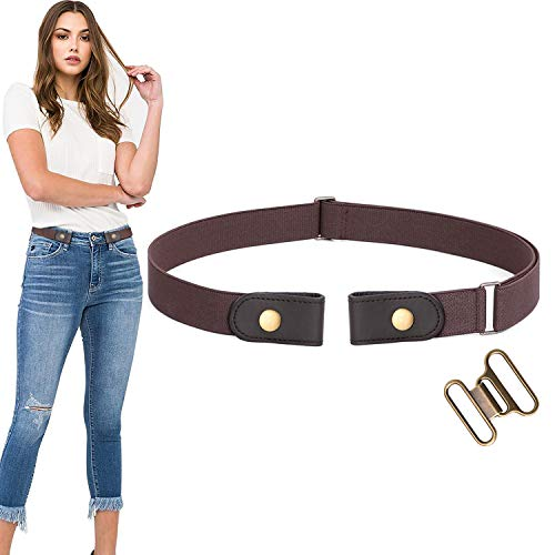 No Buckle Stretch Belt For Women Men Elastic Waist Belt Up to 70 Inch for Jeans Pants,Coffee,Pants Size 34-48 Inches