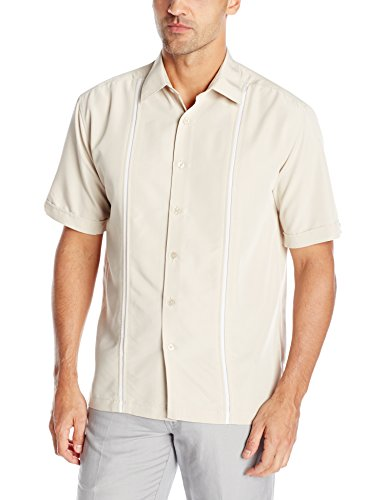 Cubavera Mens Contrast Insert Stitching Short Sleeve Woven Shirt,Silver Lining,Small