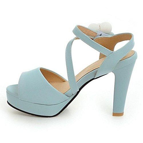 RAZAMAZA Tacon Alto Sandalias Blue Mujer 88wfq6
