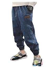 pipigo Boys' Jeans Denim Cotton Elastic Waist Baby Pant for Kids