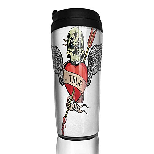 Angel Wings Aladdin - coffee cups for mom and dad Tattoo,Angel Wings with Skull Heart Full of Blood Symbol of Real Love Valentines,Red White and Black, 12 oz,coffee cup tree for large cups