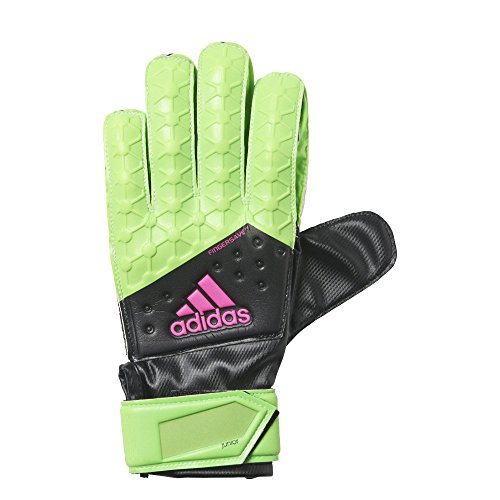 adidas Performance ACE Fingersave Junior Goalie Gloves, Solar Green/Black/Shock Pink/White, Size 5