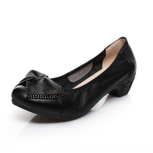 Amoonyfashion Femmes Fermé Bout Rond Talon Bas En Cuir De Vache Solide Chaussures Avec Bowknot Noir