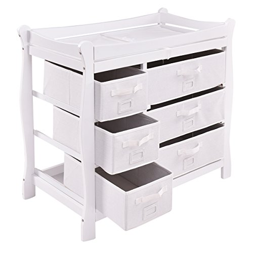 Costzon Baby Changing Table Infant Diaper Nursery Station w/6 Basket Storage Drawers (White) by Costzon (Image #8)