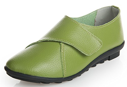 Women's Soft Casual WUIWUIYU Green Leather Flat Comfort Shoes dqUgPw
