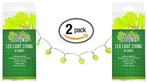 St Patricks Day Lights - Shamrock String Lights (2 pack) St Patricks Day Decorations - St Patty Day Accessories - Green LED (St Patricks Day Lights)