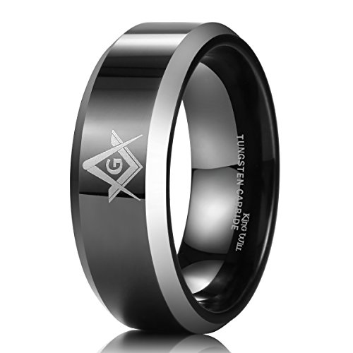 King Will 8mm Black Men's Tungsten Carbide Ring Polished Masonic Compass Square Free Mason 13