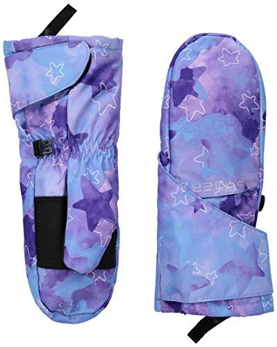(Spyder Girls' Bitsy Cubby Ski Mitten, Stargazer Blue Ice Print/Stargazer Blue Ice Print, Medium)