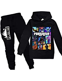 Youth Fortnite Pullover Hoodie and Sweatpants Suit for Boys Girls 2 Piece Outfit Sweatshirt Set