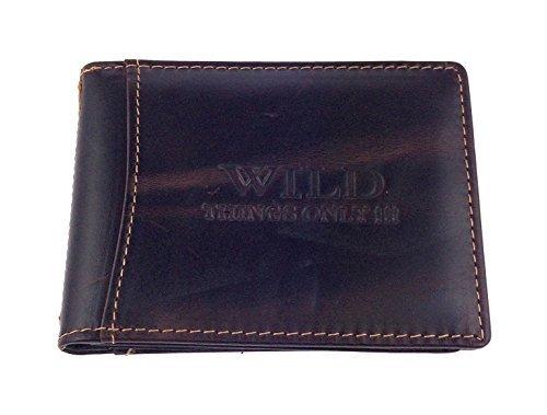 NB24 Ausweishülle Geldkartenhülle (5523-232), dunkelbraun, Echt Leder, WILD THING'S ONLY!!!, Damen und Herren, Kleinlederwaren