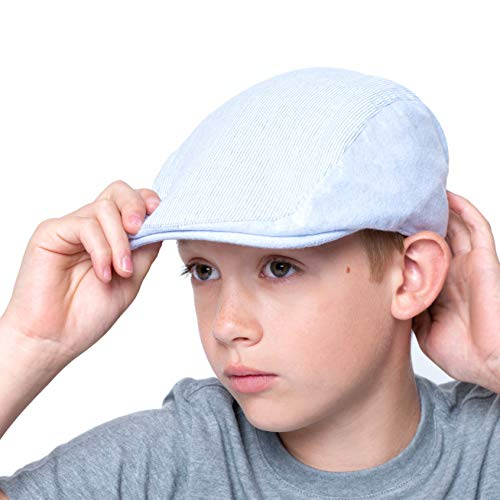 (accsa Toddler Kid Boy Vintage Newsboy Duffer Flat Cap Sun Protection Driver Golf Hat Stripe Blue Age 4-7Y)