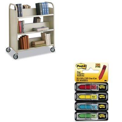 KITMMM684SHSAF5357SA - Value Kit - Safco Steel Slant Shelf Book Cart (SAF5357SA) and Post-it Arrow Message 1/2amp;quot; Flags (MMM684SH) by Safco