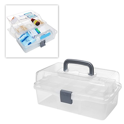 MyGift® Plastic 2 Tier Trays Craft Supply Storage Box / Firstaid Carrying Case w/ Top Handle & Latch Lock