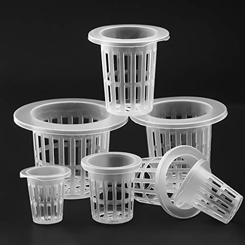 Acidea 50 Pack 2 Inch Garden Slotted Mesh Net Cups, Heavy Duty Net Pots, Garden Plastic Net Cups Pots Wide Lip Bucket…