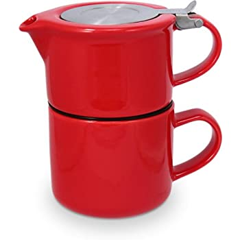 FORLIFE Tea for One with Infuser 14 ounces, Red