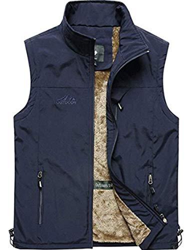 - XinDao Men's Casual Outdoor Vest Jacket Lightweight Fishing Fleece Vest Outerwear Blue US M/Asia 3XL