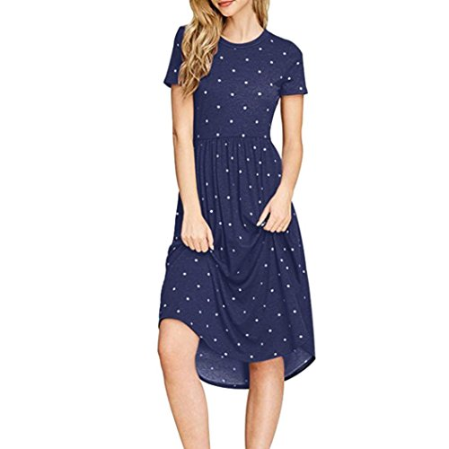 Womens Autumn Daily Casual Dot Wave Point Printing Fashion Short Sleeve Mini Dress (s, Navy) by Xchenda