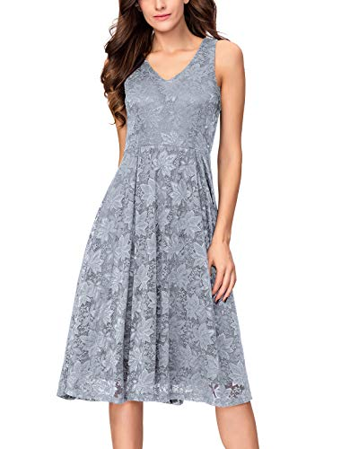 Noctflos Lace V Neck Fit & Flare Midi Cocktail Dress for Women Party Wedding (Medium, Grey)