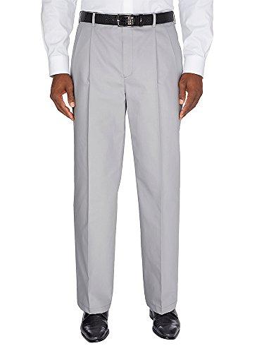 Paul Fredrick Men's Non-Iron Supima Chino Pleated Pant Oxford Grey 58