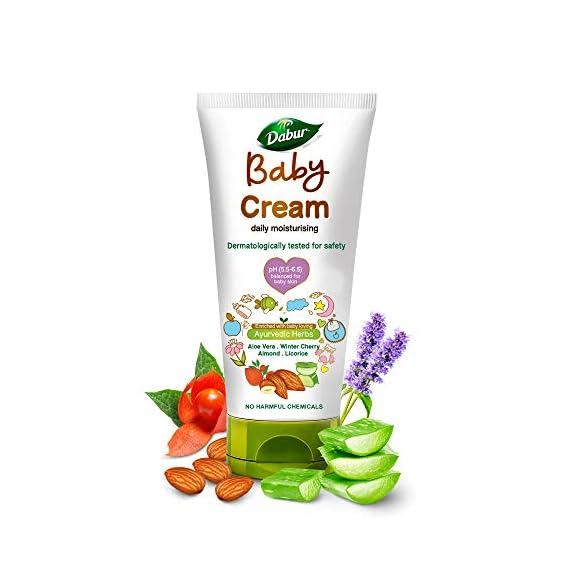 Dabur Baby Cream : For Baby Soft Skin with No Harmful Chemicals  Contains Aloevera , Licorice & Almonds pH balanced