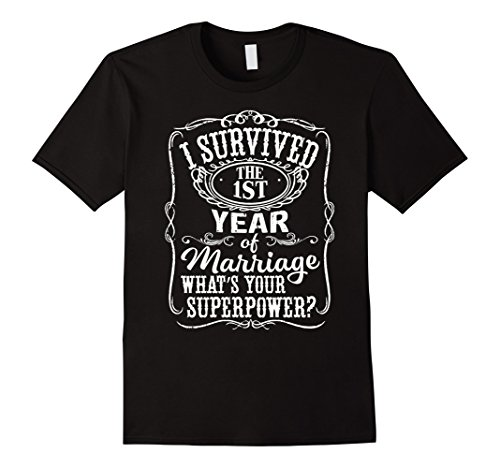 Mens Anniversary Gift 1th - 1 years Wedding Marriage T-Shirt Large Black