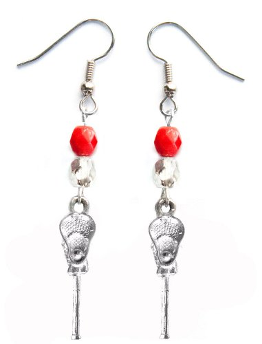 ''Lacrosse Stick & Ball'' Lacrosse Earrings (Team Colors Red & Silver) by Edge Sports (Image #3)