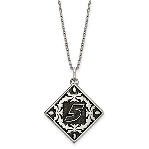 Steel Kasey Ladies Stainless Kahne - STAINLESS STEEL LogoArt Official Licensed NASCAR BALI TYPE 5 KASEY KAHNE PENDANT FLORAL LEAF PATTERN