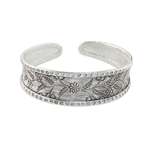 New Fair Trade Handmade Art - NOVICA .925 Sterling Silver Cuff Bracelet 'New Bloom'